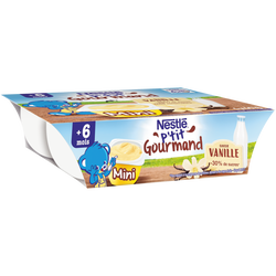 P'tit gourmand vanille NESTLE, dès 6 mois, 6x60g