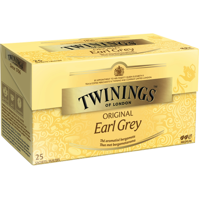 Thé Earl Grey TWININGS, 25 sachets, 50g