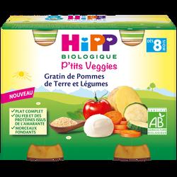 Petit pot bio pour bébé gratin de pommes de terre et légumes HIPP, dès8 mois, 2 x 190g