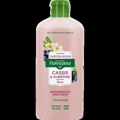Shampooing infusion cassis & aubépine cheveux normaux à secs colorés ou méchés FLORESSANCE, flacon de 250ml