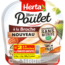 Herta Le Bon Poulet À La Broche  4 Tranches 2x120g + 1 Gratuit 360g
