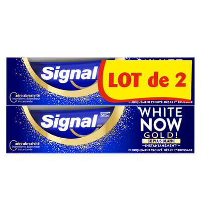 Dentifrice white now blancheur gold SIGNAL 2x75ml
