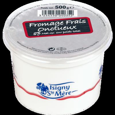 Fromage frais onctueux au lait pasteurisé 8% de MG, ISIGNY, pot de 500g