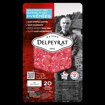 Saucisson sec supérieur des pyrénées DELPEYRAT, 20 tranches, 70g
