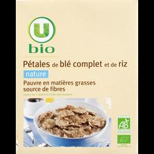 Pétales de blé complet et riz nature, U BIO, 300g