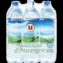 Eau de source de montagne d'Auvergne U, 6x1,5l