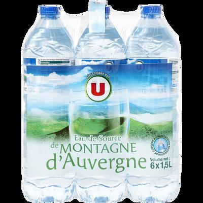Eau de source de montagne d'Auvergne U, 6 bouteilles de 1,5l