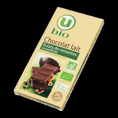 Tablette de chocolat au lait et noisettes caramélisées U BIO, 100g