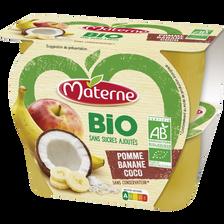 Materne Dessert De Fruits Sans Sucre Ajouté Bio Pomme Banane Coco ,4x100g