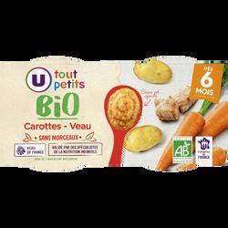 Bols de carottes et veau sans morceaux Tout Petits Bio U, dès 6 mois,2 bols de 200g