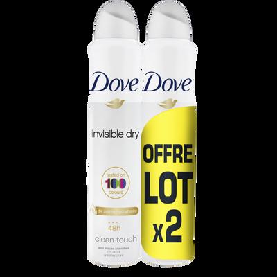 Déodorant Invisible Dry DOVE, 2 spray de 200ml