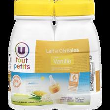 Lait et céréales goût vanille U TOUT PETITS, 2 bouteilles de 250ml