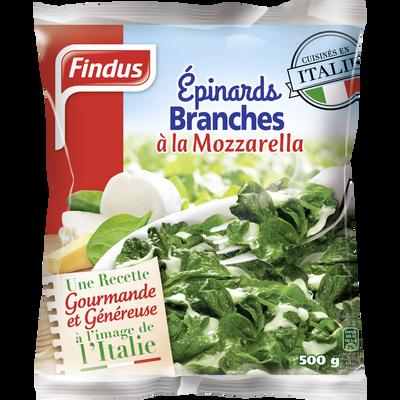 Epinards en branches à la mozzarella FINDUS, 500g