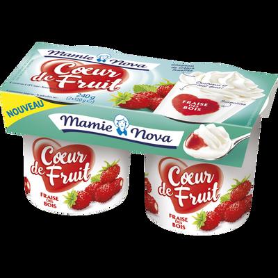 Yaourt gourmand aux fruits coeur fraise des bois, MAMIE NOVA, 2 unitésde 120g