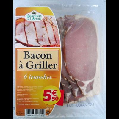 Bacon à griller GOURMETS DE L'ARTOIS, 6 tranches soit 380g