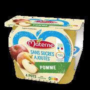 Materne Dessert Fruits Sans Sucre Ajouté Pomme Nature Materne, 4x100g