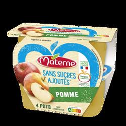Dessert fruits sans sucre ajouté pomme nature MATERNE, 4X100g