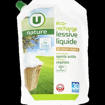 Lessive liquide au savon végétal U NATURE, recharge de 2l, 30 lavages