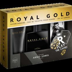 Coffret homme royal gold A.Sorel edt 100ml+savon dche 100ml+jeu decartes