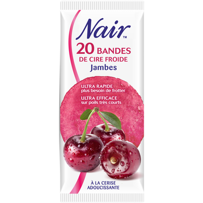 Cire froide cerise NAIR, 20 bandes