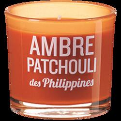 Verre coloré/sérigraphié rempli de bougie parfumée ambre/patchouli desPhilippines DEVINEAU