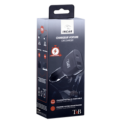 Chargeur allume-cigare 2 USB T'NB CACPD65W-vitesse de charge ultra rapide-1 port USB-A normé Quick Charge 3.0-1 port USBtype C-puissance max.65W