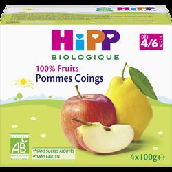 Compote infantile bio pommes coings HIPP, dès 4-6 mois, 4x100g