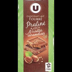 Tablette de chocolat au lait fourré praliné et éclats de noisettes caramélisés U, 150g