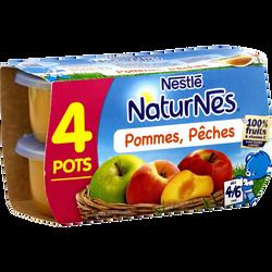 Compote pomme pêche NATURNES, dès 4-6 mois, 4x130g