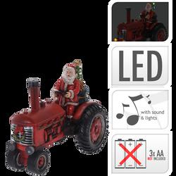 Père noël sur tracteur en polyrésine 28,5x15x22cm-musical avec led etvapeur-fonctionne avec 3 piles aa non incluses