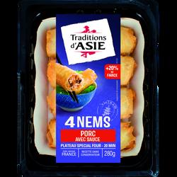 Nems au porc avec sauce TRADITIONS D'ASIE, 4 pièces, 280g