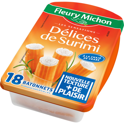 Délices de surimi à la chair de crabe FLEURY MICHON, x18 soit 300g