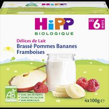 Brassé pommes framboises bananes dès 6 mois biologique HIPP, coupellesde 4x100g