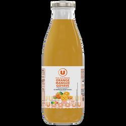 Pur jus orange et fruits mangue goyave U, bouteille de 1l