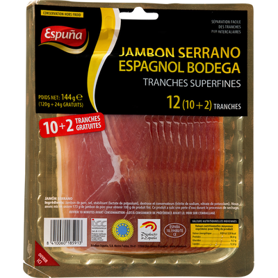 Jambon Serrano espagnol bodega ESPUNA, 10 tranches +2 offerts, 144g