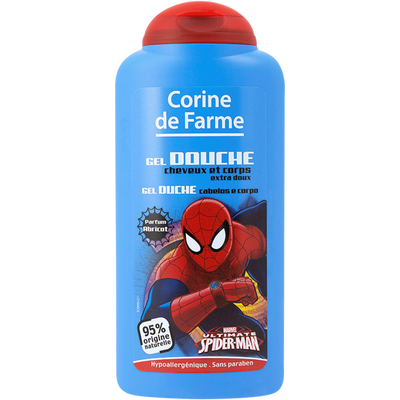 Gel douche cheveux & corps Spiderman Disney CORINE DE FARME, flacon de250ml