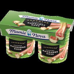 Yaourt sucré à la rhubarbe rose Gourmand MAMIE NOVA,  2 pots de 150g