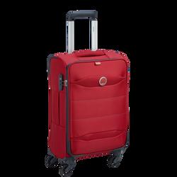 Trolley souple DELSEY Cuzco slim en polyester 55cm rouge-4 roues multidir.-syst.trol.intégré+bouton pous.-ouv.dble.zip+cad.à code-2 sangles-1 poche-1 comp.latér.fil.zip.-poignée