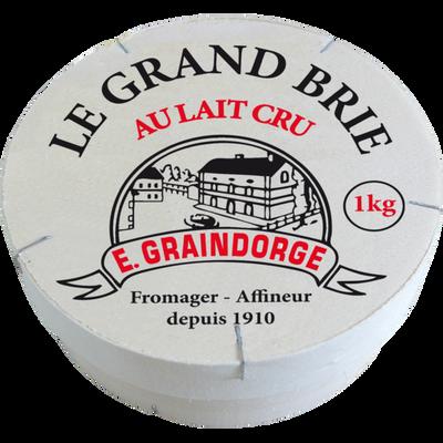 Fromage au lait cru Le grand brie GRAINDORGE, 23% de MG, 1kg