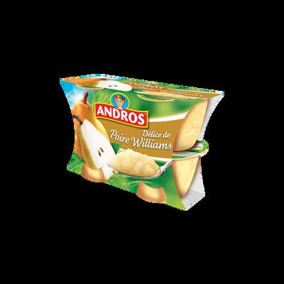 Delice fruitier poire Williams en morceaux ANDROS, paquet de 100g