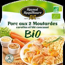 Porc 2 moutarde carottes citron, blé concassé bio RAYNAL ET ROQUELAURE, barquette micro-ondable de 285g