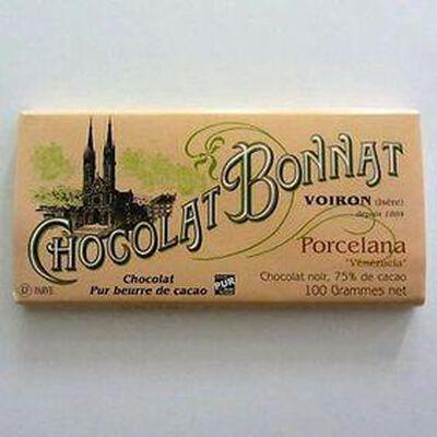 Chocolat noir au beurre de cacao  Porcelana  BONNAT,100g