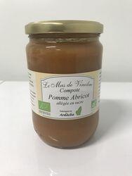 Compote pomme/abricot allégée en sucre bio 630g Mas de Vinobre