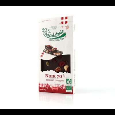 Tablette de chocolat noir 70% mendiant cranberry bio LA CHOCOLATERIE ARTISANALE, 100g
