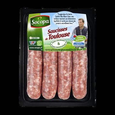 Saucisse de Toulouse BBC, SOCOPA, France, 4 pièces, barquette, 400g