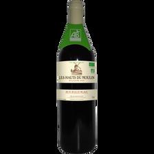 """Vin rouge AOP bio Bergerac """"les Hauts du Moulin"""", bouteille de 75cl"""