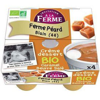 Crème dessert caramel beurre salé bio FERME PEARD 4x100g