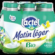 Lactel Lait Uht Stérilisé Sans Lactose Bio Matin Leger, 6 Bouteilles De 1 Litre