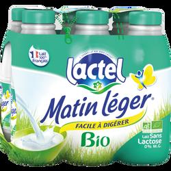 Lait UHT stérilisé sans lactose bio MATIN LEGER, 6 bouteilles de 1 litre