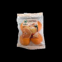 Orange Navelate, U BIO, calibre 5/6, catégorie 2, Espagne, sachet 4 fruits